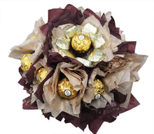 Load image into Gallery viewer, Chocolate candy bouquet with Ferrero Rocher, Rolo, Twix and Dove Chocolates Top View