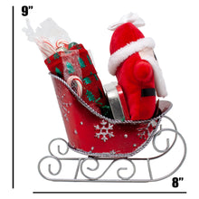 Load image into Gallery viewer, Santas Sleigh Candy Gift Basket Dimensions