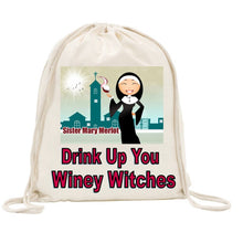Load image into Gallery viewer, Sister Mary Merlot Drawstring Bag