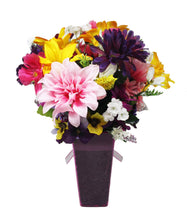 Load image into Gallery viewer, Faux Flower Arrangement springtime bouquet view of back