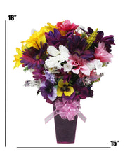 Load image into Gallery viewer, Faux Flower Arrangement springtime bouquet dimensions