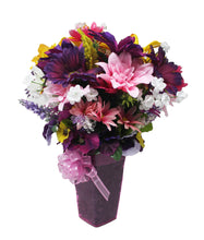 Load image into Gallery viewer, Faux Flower Arrangement springtime bouquet view of side