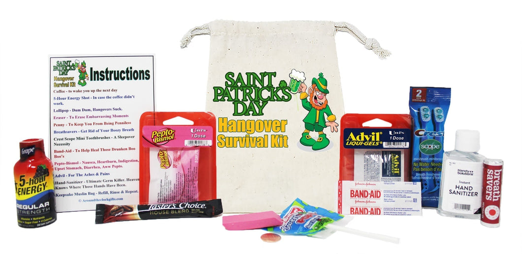 St Patricks Day Hangover Surivial Kit Contents