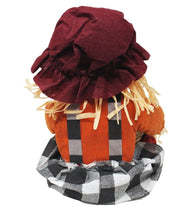 Load image into Gallery viewer, Super Cute Sitting Scarecrow with Basket full of Caramel Apple Pops Harvest Candy back view