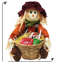 Load image into Gallery viewer, Super Cute Sitting Scarecrow with Basket full of Caramel Apple Pops Harvest Candy dimensions 12x9 1