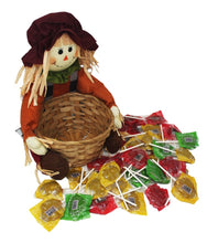 Load image into Gallery viewer, Super Cute Sitting Scarecrow with Basket full of Caramel Apple Pops Harvest Candy empty basket