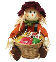 Load image into Gallery viewer, Super Cute Sitting Scarecrow with Basket full of Caramel Apple Pops Harvest Candy front view