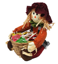 Load image into Gallery viewer, Super Cute Sitting Scarecrow with Basket full of Caramel Apple Pops Harvest Candy side view