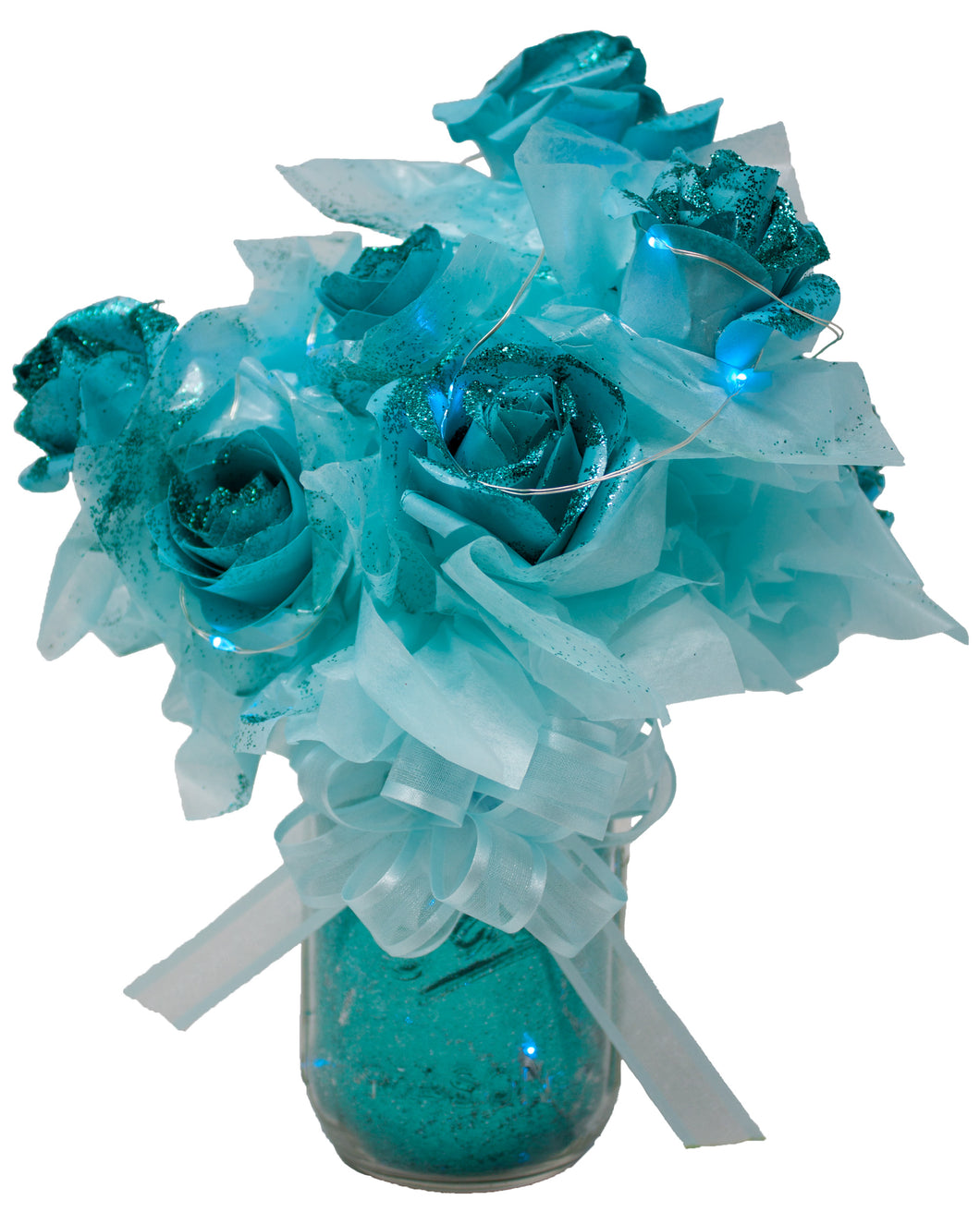 Teal Paper Rose Bouquet with Glitter & Fairy Lights