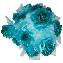 Load image into Gallery viewer, Teal Paper Rose Bouquet with Glitter & Fairy Lights