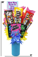 "Load image into Gallery viewer, Appreciation Candy Bouquet dimensions 20"" x 11"""