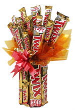 Load image into Gallery viewer, Twix Candy Bar Bouquet Side View