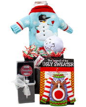 Load image into Gallery viewer, Ugly Sweater for Your Wine Holiday Gift Box Contents