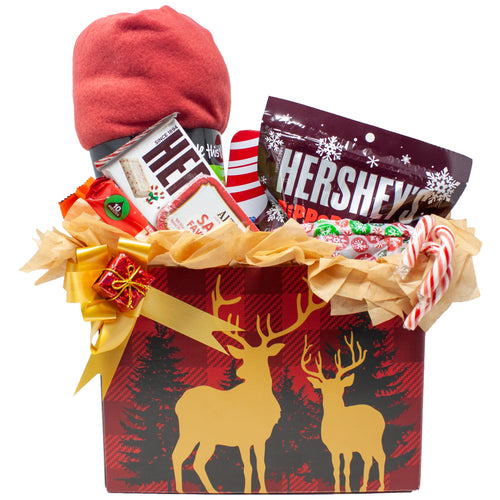 Deer Lovers Christmas Gift Box with chocolates and candy