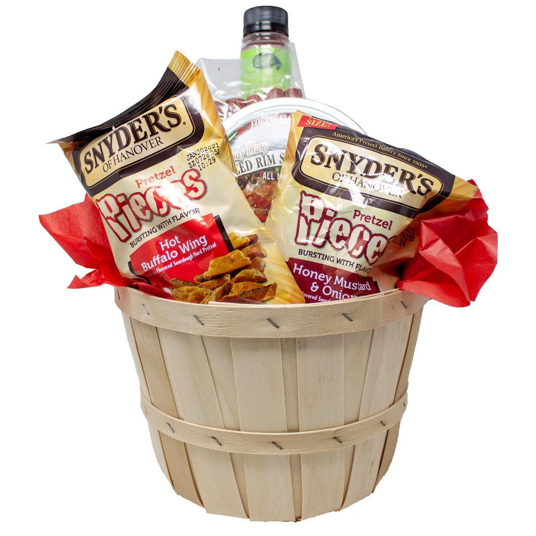 Bloody Mary Mix Gift Set With Mixer Card, Pretzels, Rim Salt, Asparagus, Olives, Pepperoni Straws