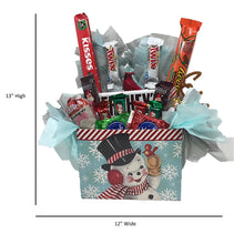 Load image into Gallery viewer, Vintage Snowman Gift Box with assorted chocolates candy and keepsake cardinal dimensions 13 x 12