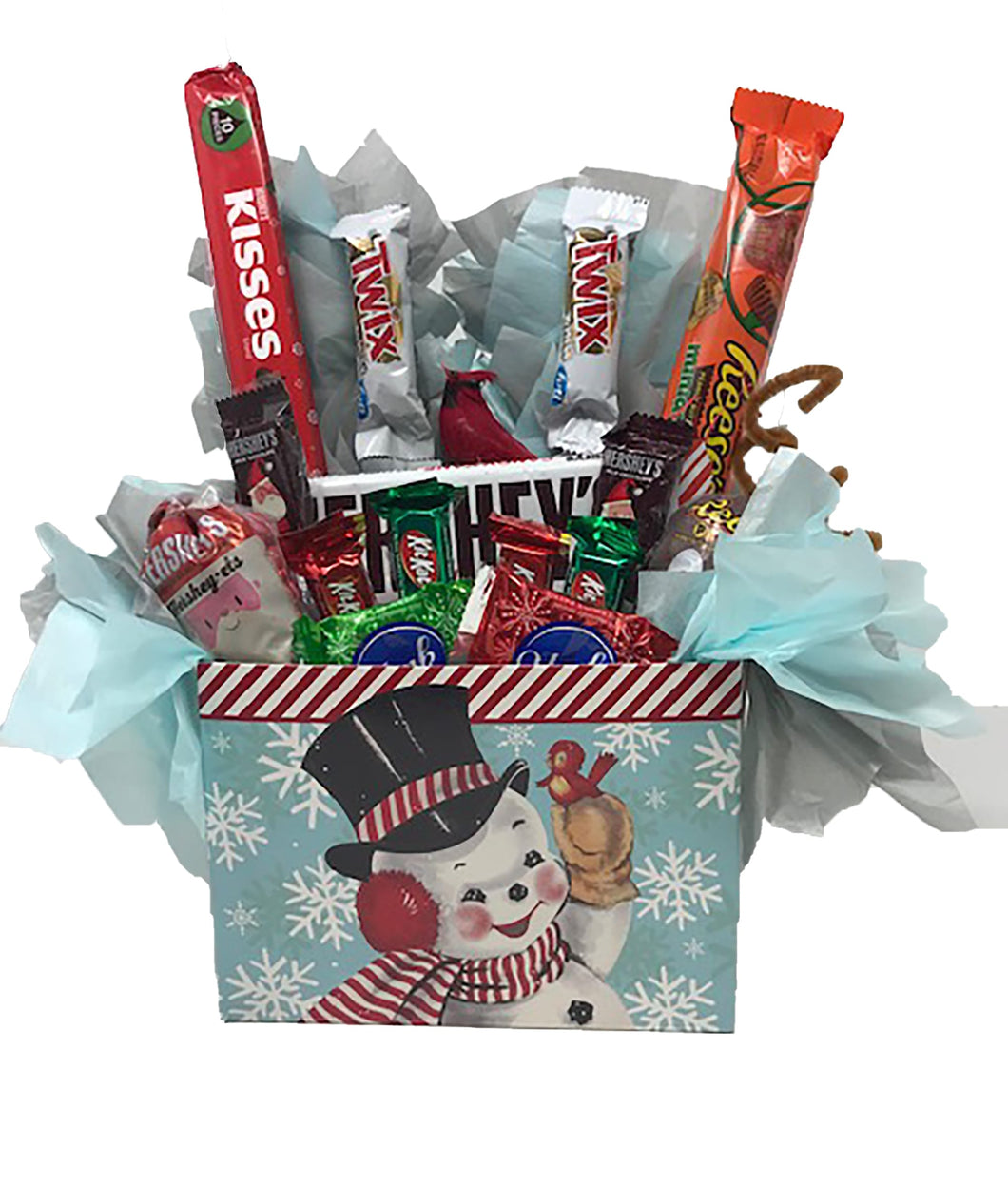 Vintage Snowman Gift Box with assorted chocolates candy and keepsake cardinal