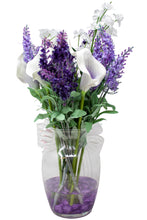 Load image into Gallery viewer, White and Purple Calla Lilly and Lavender Silk Flower Bouquet