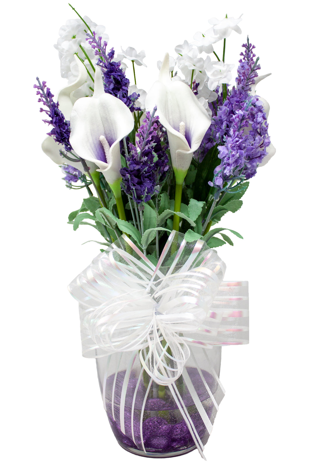 White and Purple Calla Lilly and Lavender Silk Flower Bouquet