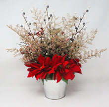 Load image into Gallery viewer, Winter Wonderland Frosty Pine Poinsettias Bouquet Back