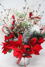 Load image into Gallery viewer, Winter Wonderland Frosty Pine Poinsettias Bouquet Closeup 1 scaled