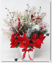 Load image into Gallery viewer, Winter Wonderland Frosty Pine Poinsettias Bouquet Dimensions