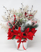 Load image into Gallery viewer, Winter Wonderland Frosty Pine Poinsettias Bouquet Front
