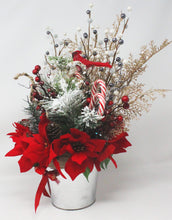 Load image into Gallery viewer, Winter Wonderland Frosty Pine Poinsettias Bouquet Side