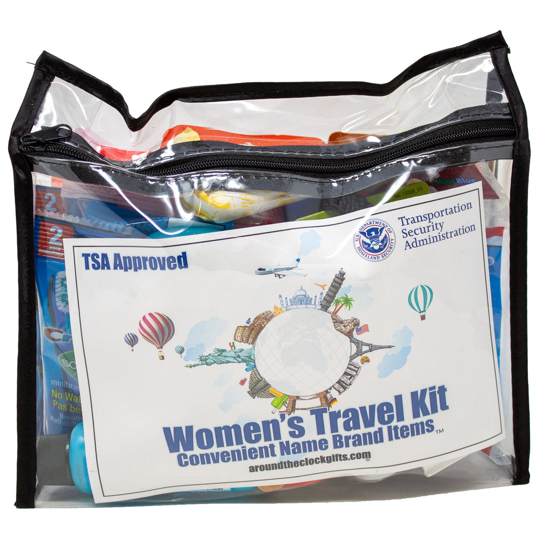 Women's Travel Toiletry Kit TSA Approved with Name Brand Items