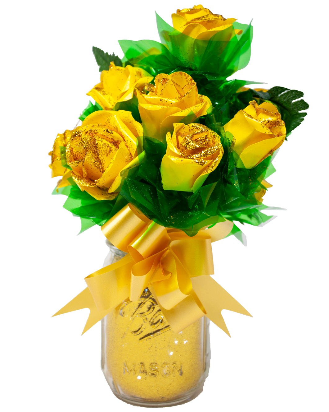 Yellow Paper Rose Bouquet with Glitter & Fairy Lights