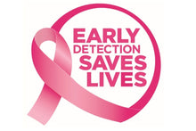 Load image into Gallery viewer, breast cancer awareness early detection saves lives logo with pink ribbon