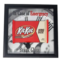 Load image into Gallery viewer, gimme a break kit kat candy bar funny gift in shadow box frame with words saying in case of emergency break glass