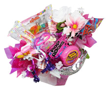 Load image into Gallery viewer, princess gifts candy bouquet image showing view from top of arrangement