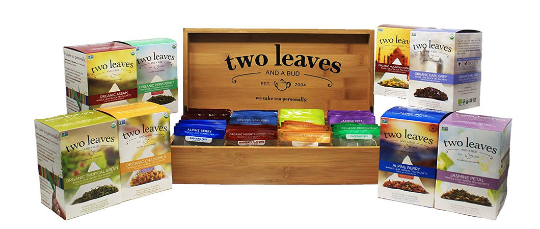 two leaves and a bud in bamboo organizer chest with organic tropical green alpine berry jasmine petal eary grey assam peppermint and mountain high chai. All best selling tea