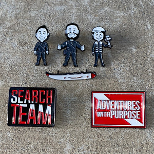 Collector Pins: 6 Piece Start Set w/Jared, Sam, Dan, Search Team, Boat and AWP Pin