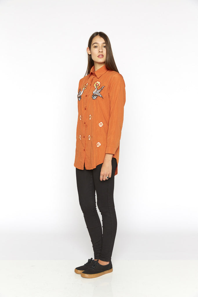 Tangerine Embroidered Long Blouse