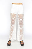 White Floral Lace Pants