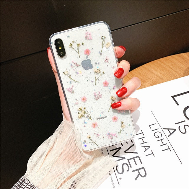 Real Dry Flower Glitter Clear Case, Soft Cover For iPhone 11 Soft Cover