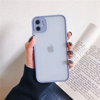 Contrast Color Frame Matte Hard PC Protective Phone Case For iPhone 12