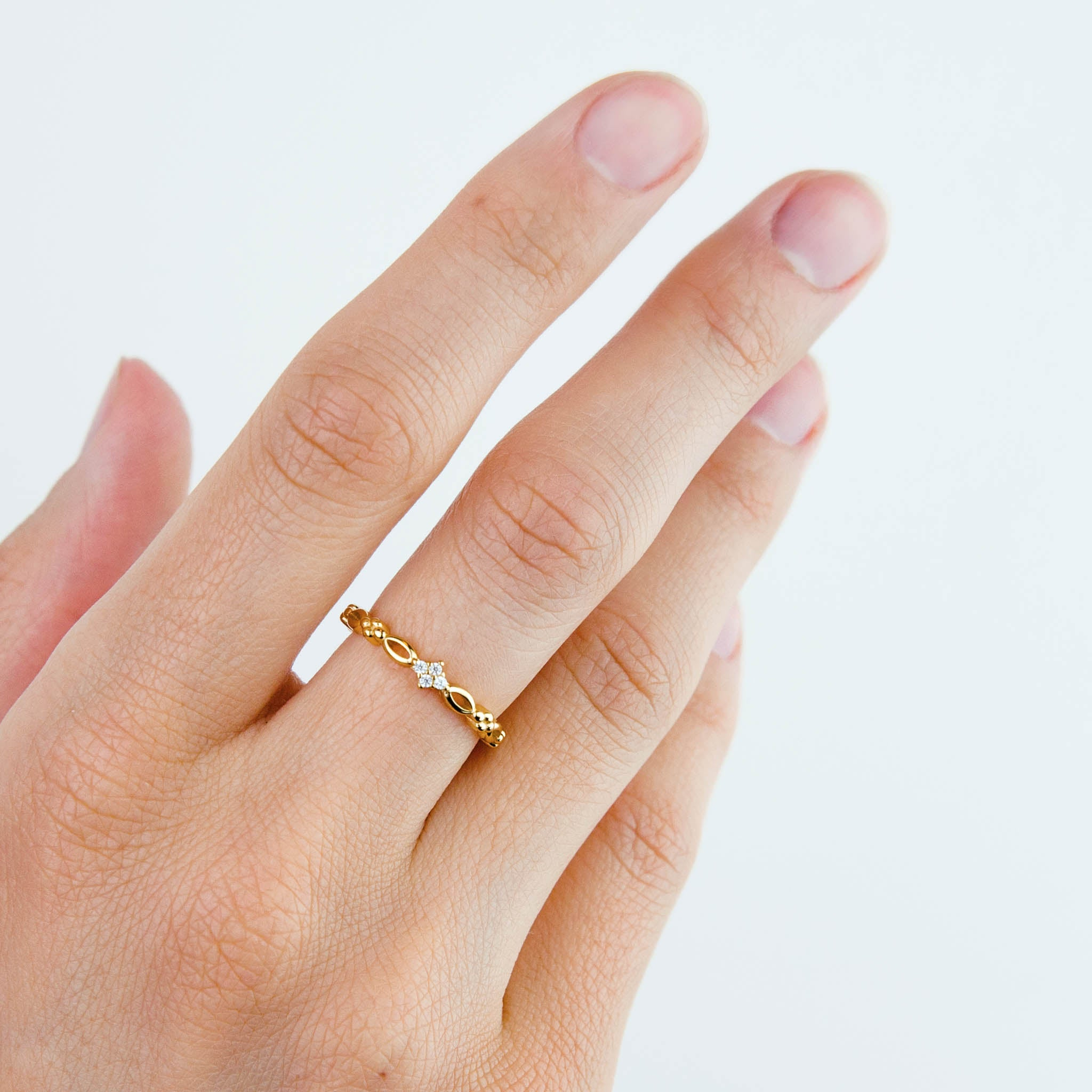 Gold Sparkly Arc Ring