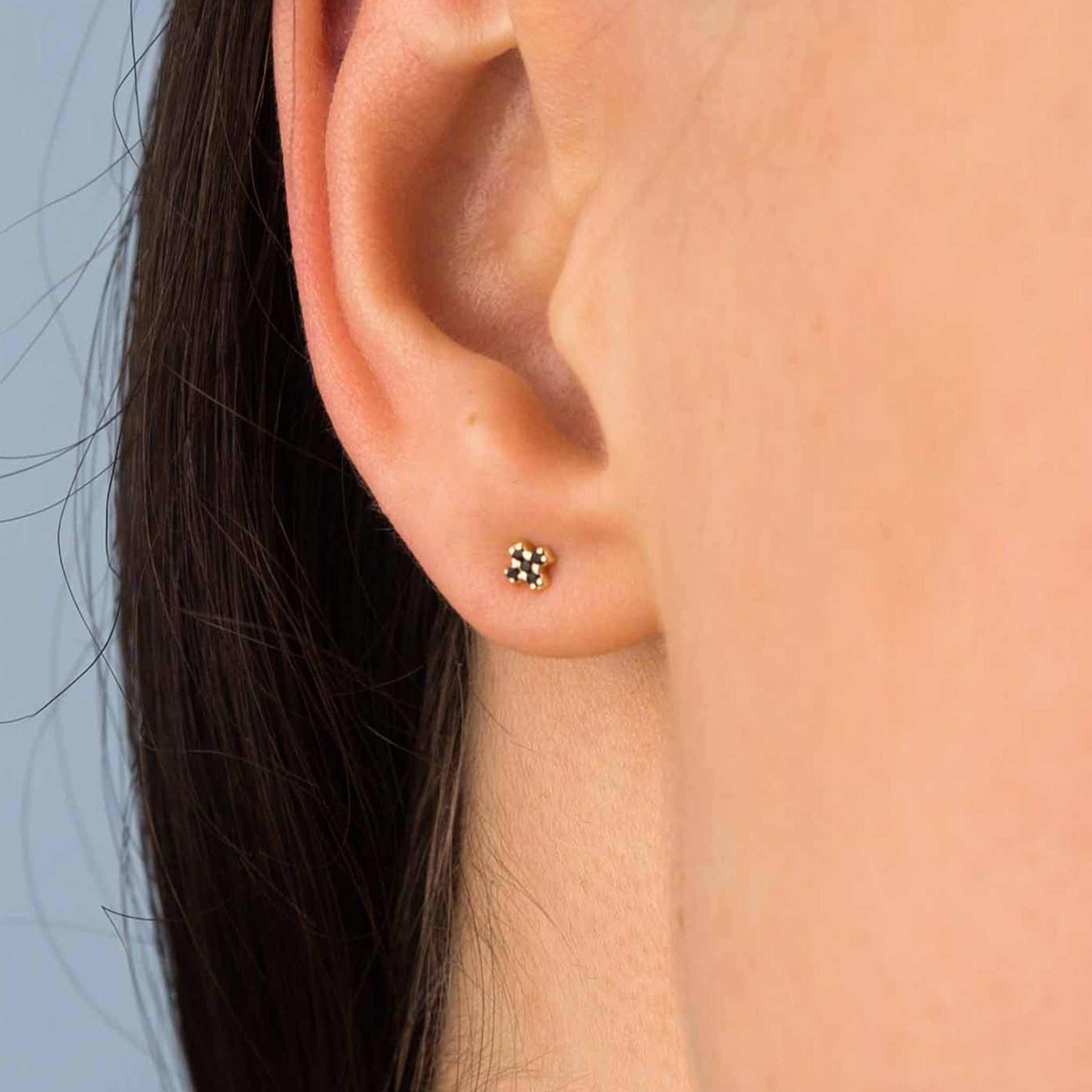 Gold Black Zircon Criss Cross Studs