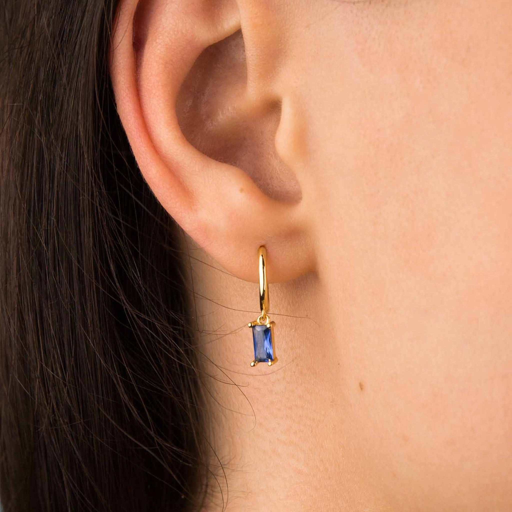 Gold Sapphire Zircon Hoop Earrings