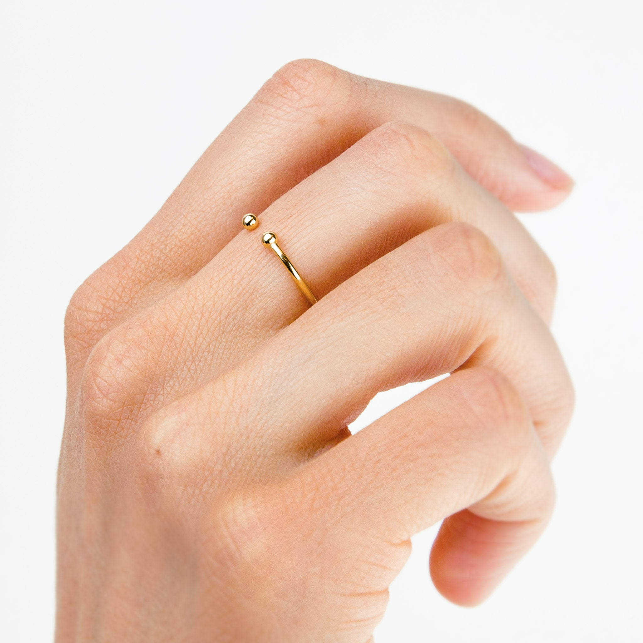 Gold Double Ball Open Ring