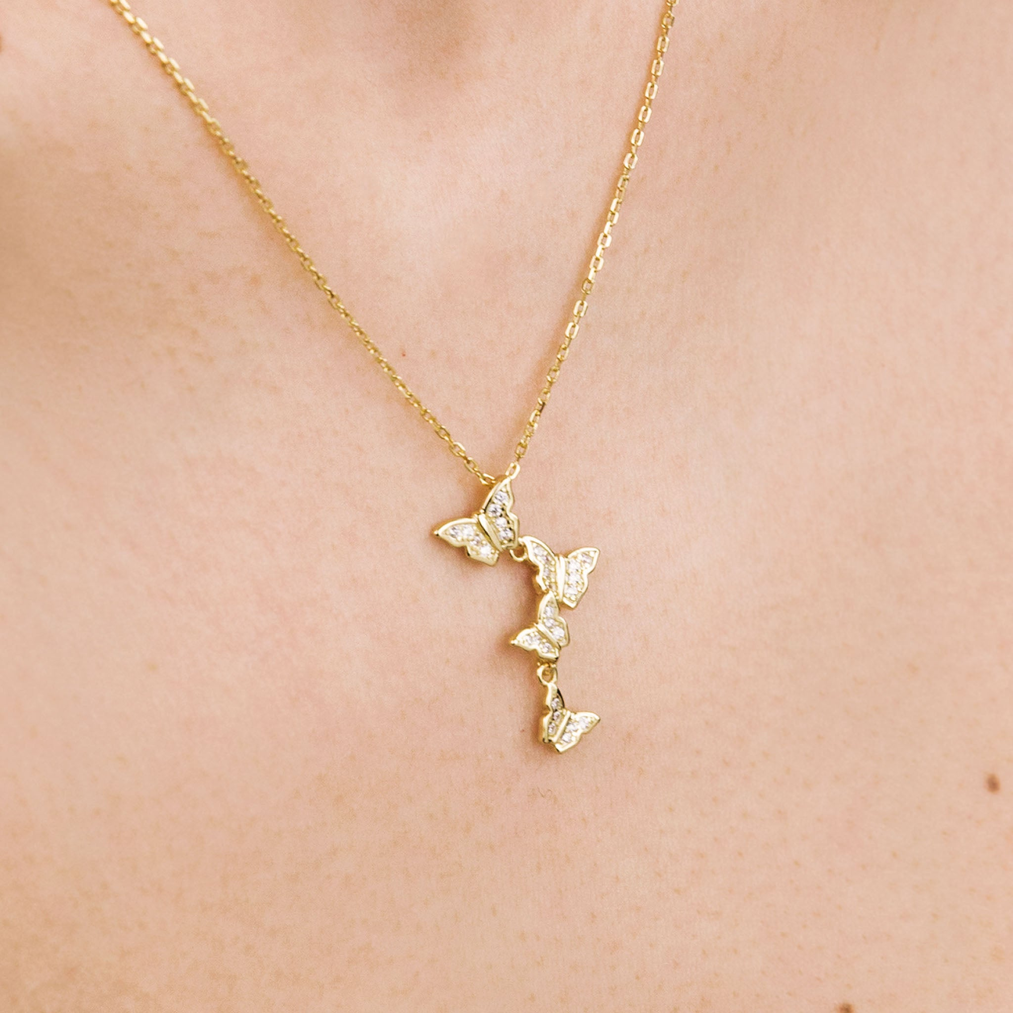 Gold Sparkly Butterfly Necklace