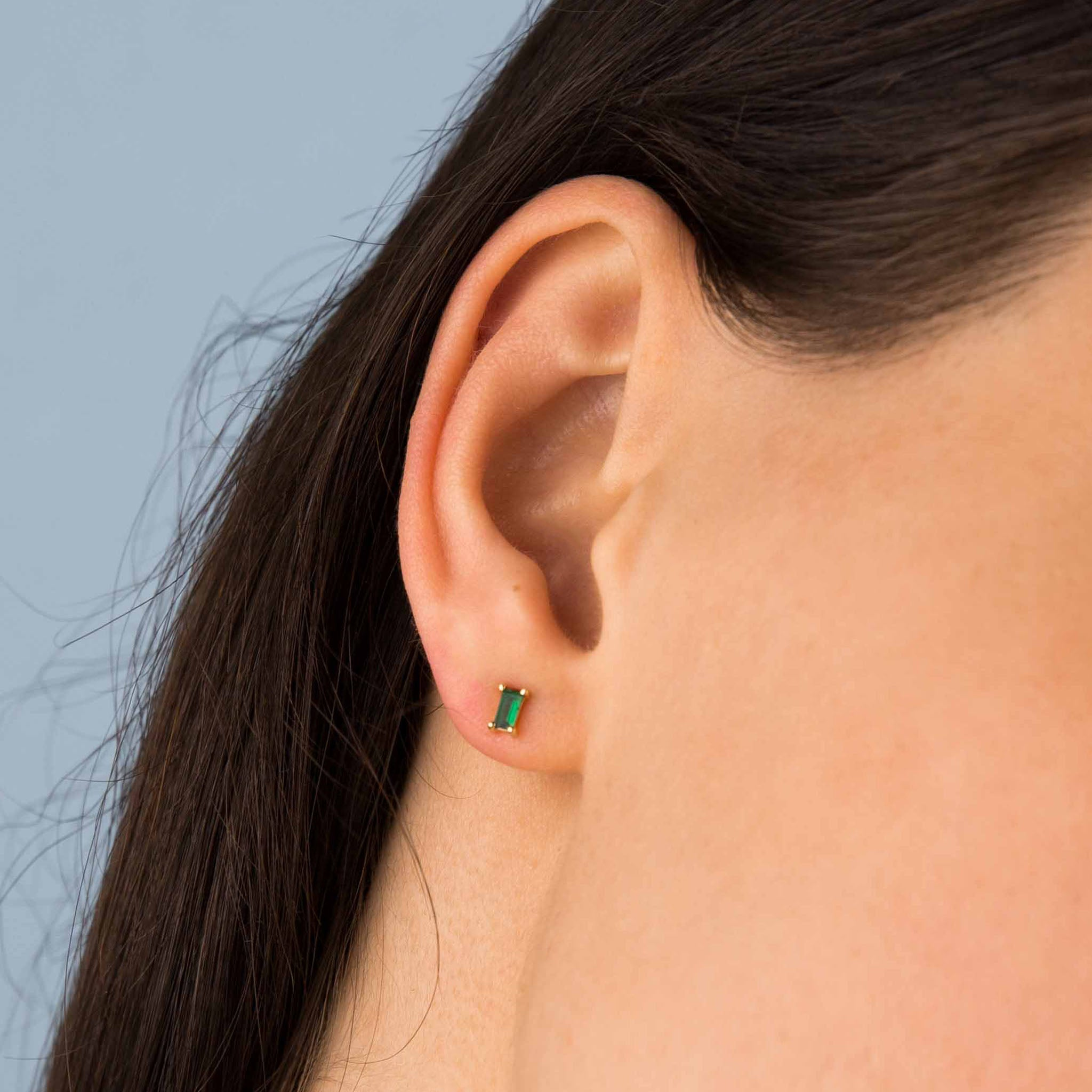 Gold Emerald Green Zircon Studs
