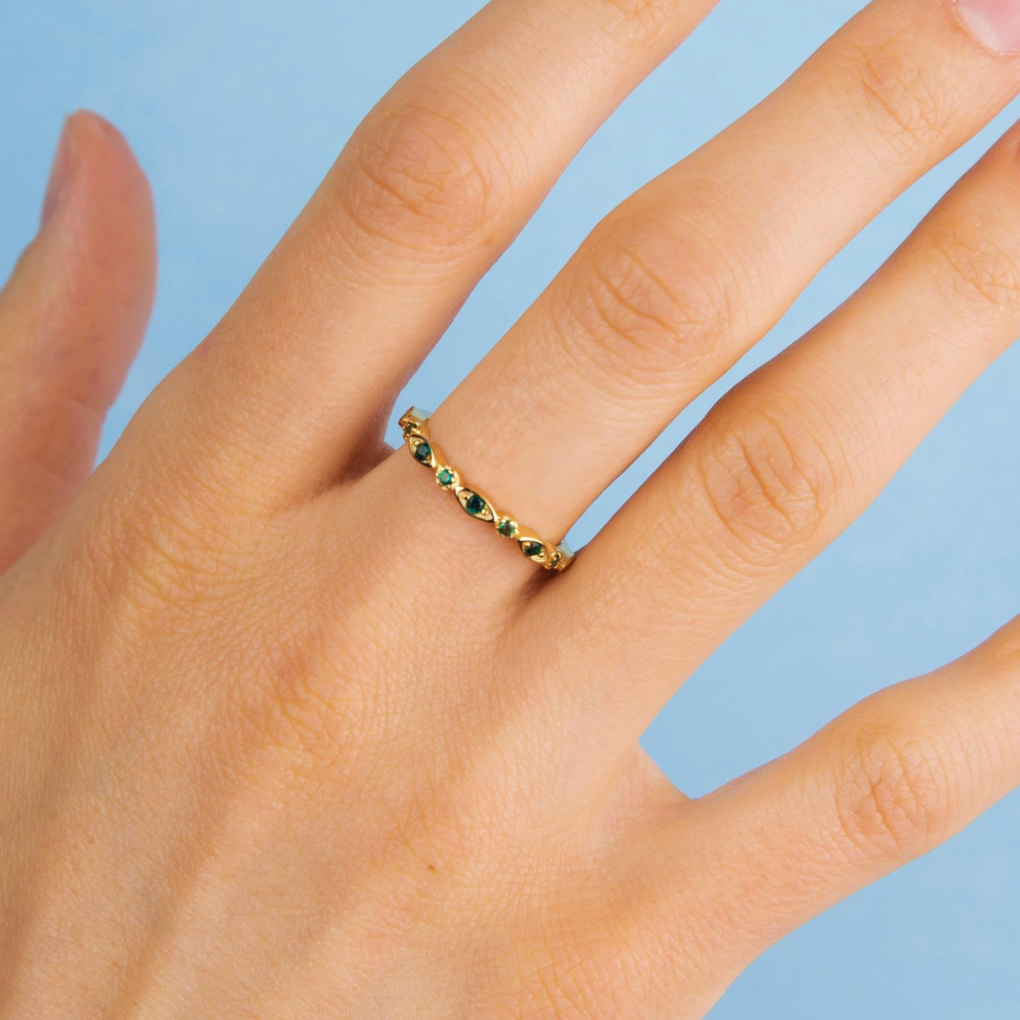 Gold Emerald Green Eternity Ring
