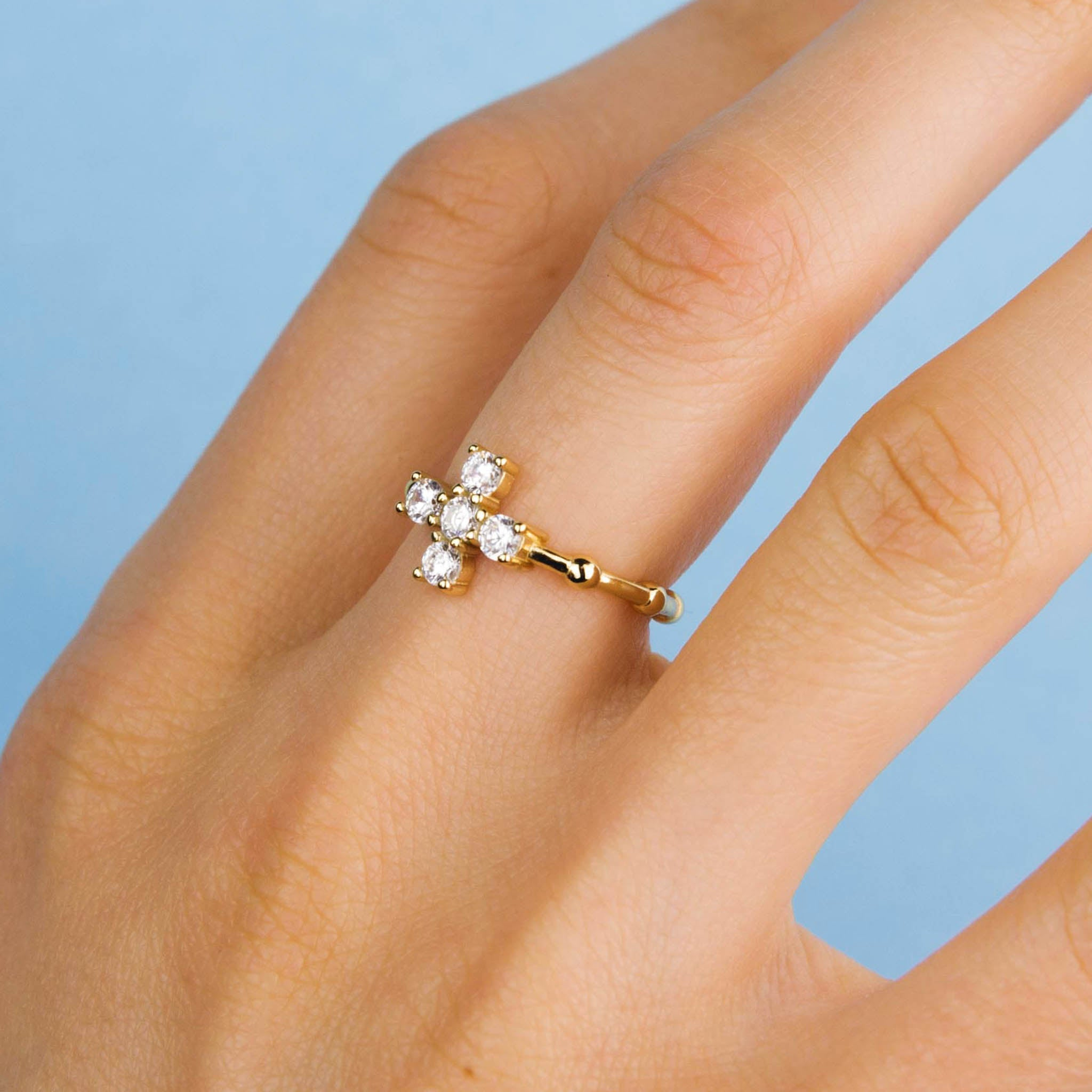 Gold Large Sparkly Cross Ring