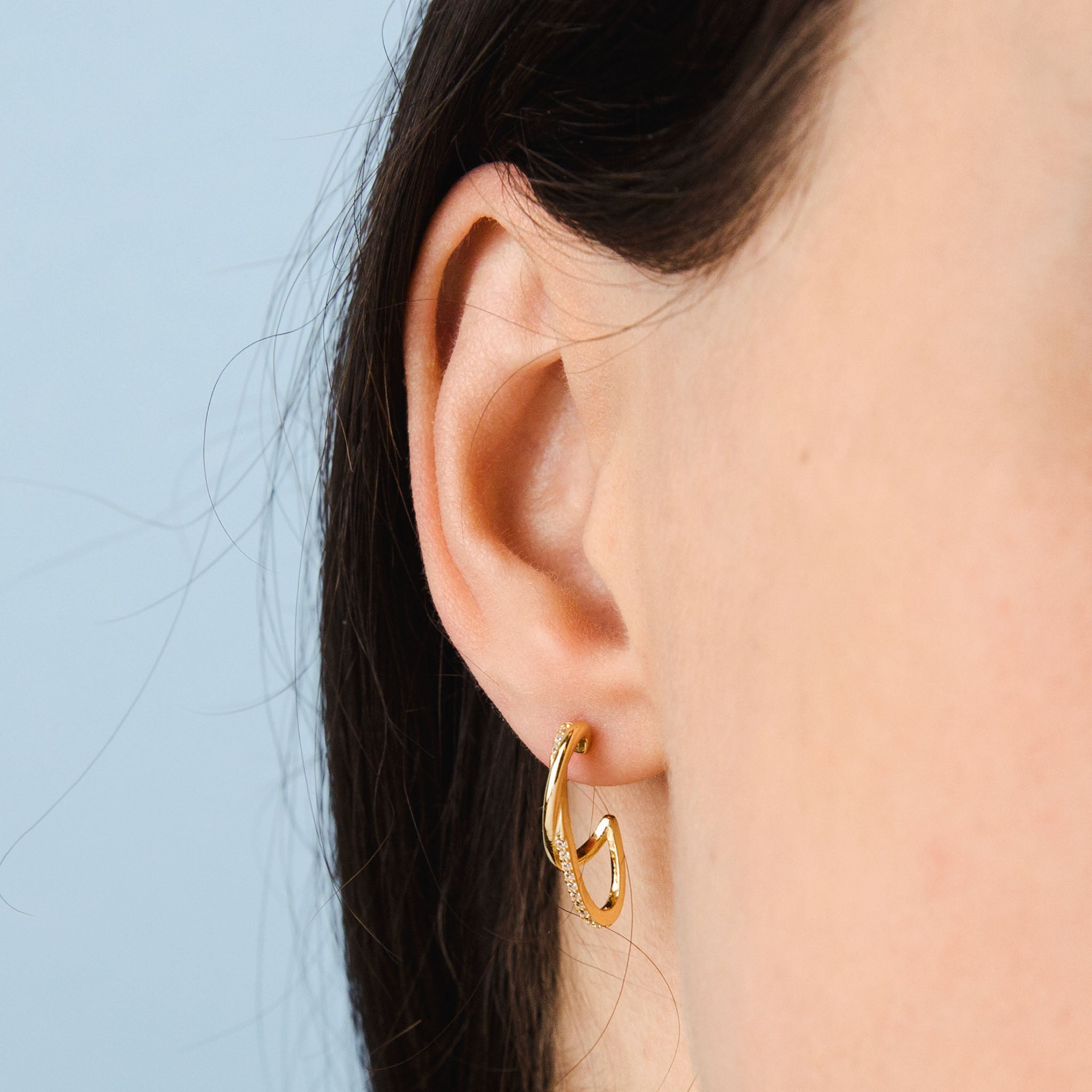 Gold Sparkly Double Layered Hoop Earrings