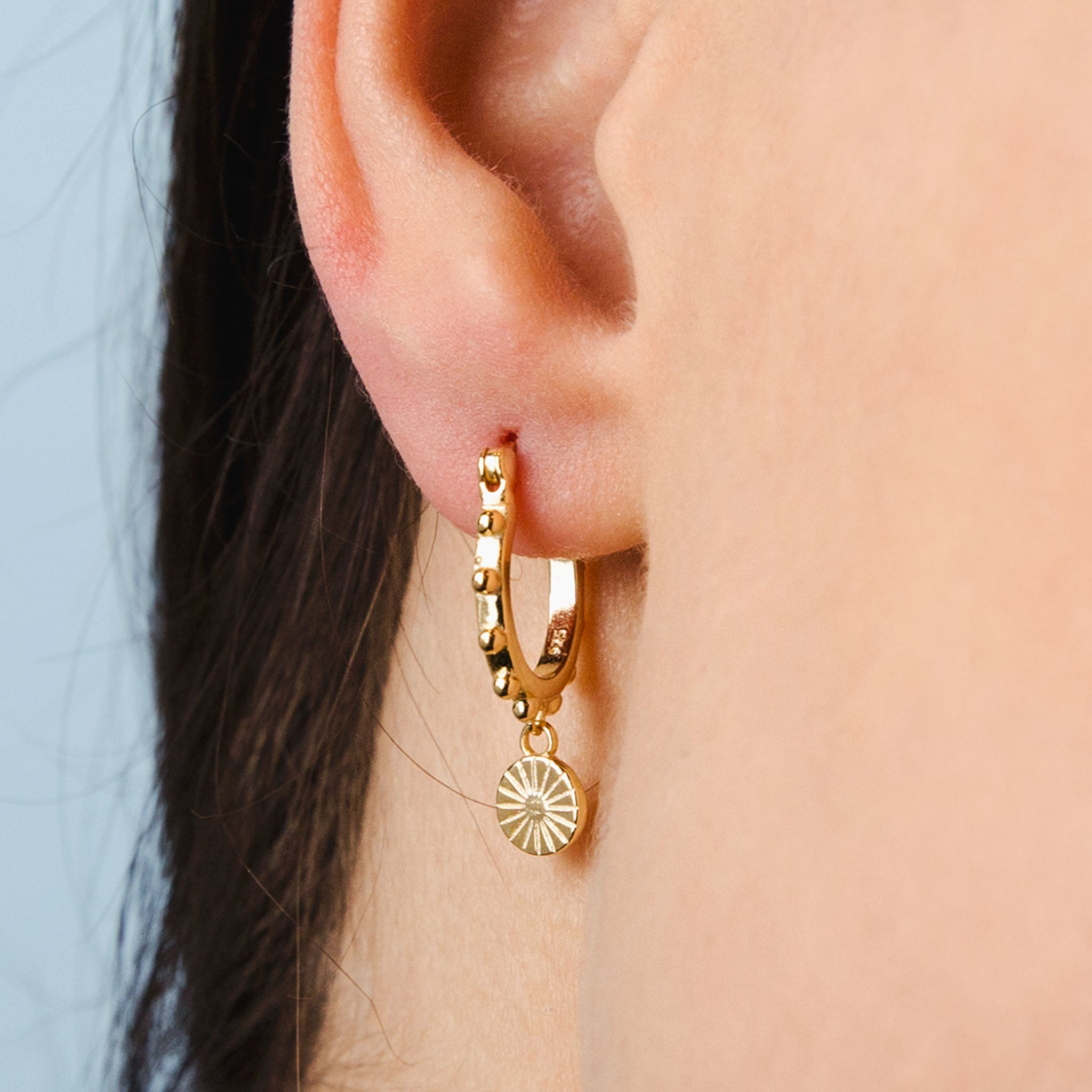 Gold Medalion Hoop Earrings With Charm