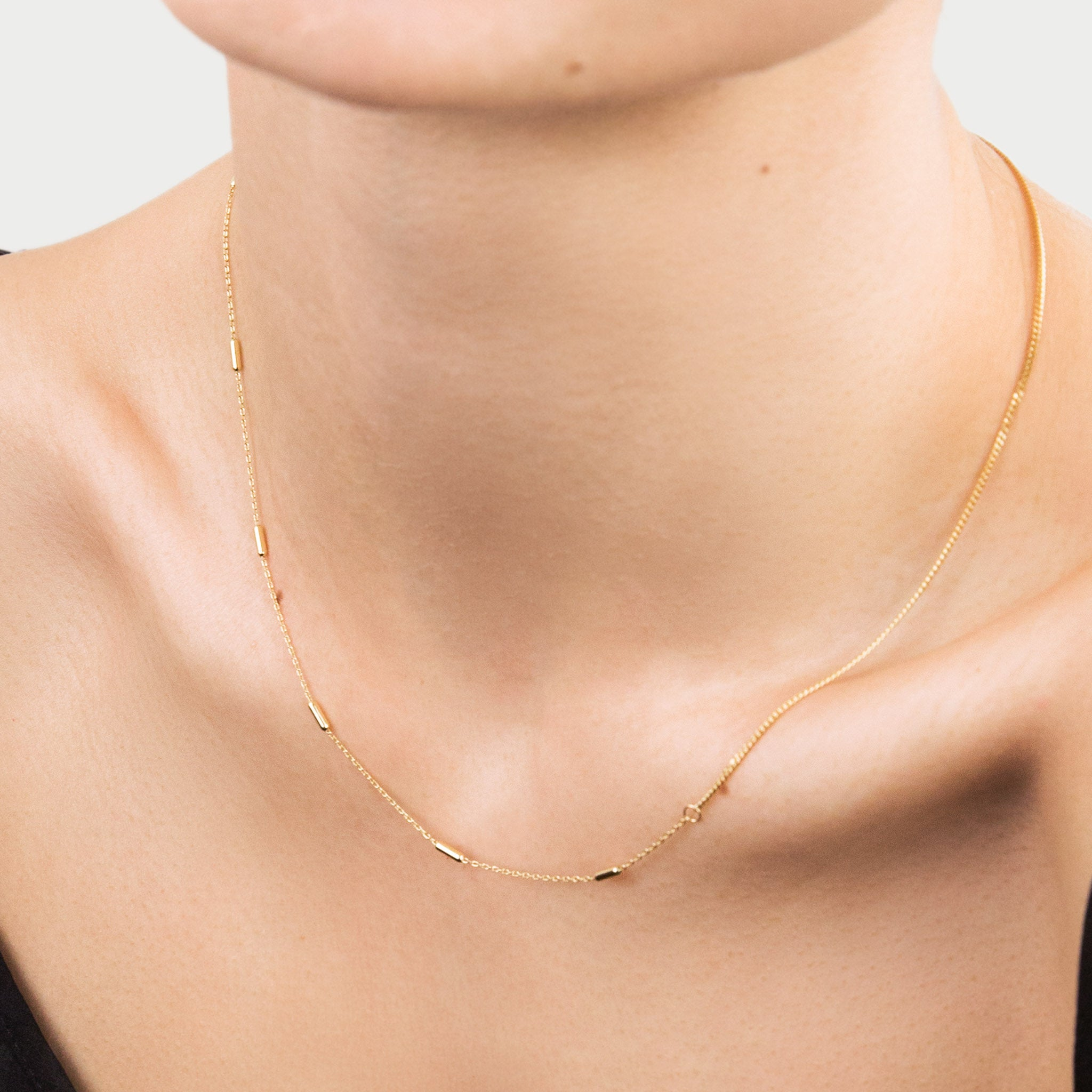 Gold Mixed Chain Necklace